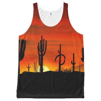 Illustration of cactus tree when the sunset All-Over print singlet