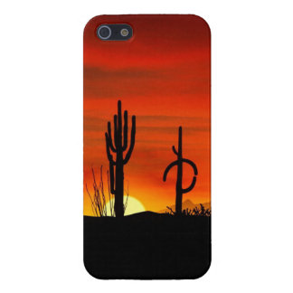 Illustration of cactus tree when the sunset cover for iPhone 5/5S