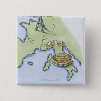 Illustration of Eiffel Tower in Paris and 15 Cm Square Badge