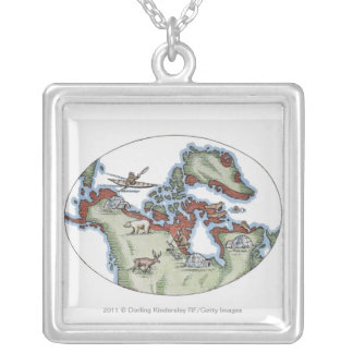 Illustration of Inuit territory Silver Plated Necklace