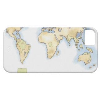 Illustration of map of the world showing areas iPhone 5 cover