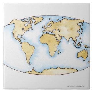 Illustration of world map tile