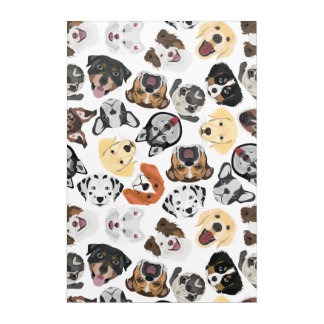Illustration Pattern Dogs Acrylic Wall Art