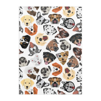 Illustration Pattern sweet Domestic Dogs Acrylic Wall Art
