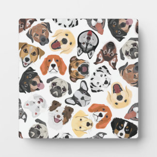Illustration Pattern sweet Domestic Dogs Plaque