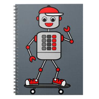 Illustration Robot Riding on a Skateboard Notebook