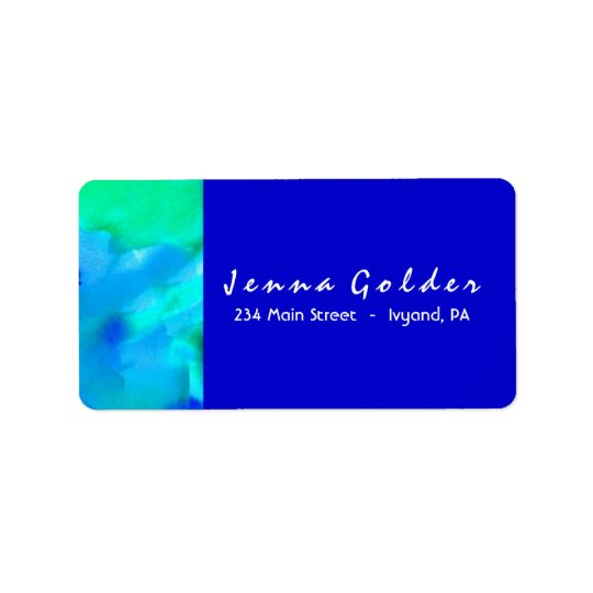 I'M AQUA WATERCOLOR Bat Mitzvah Return Address Label