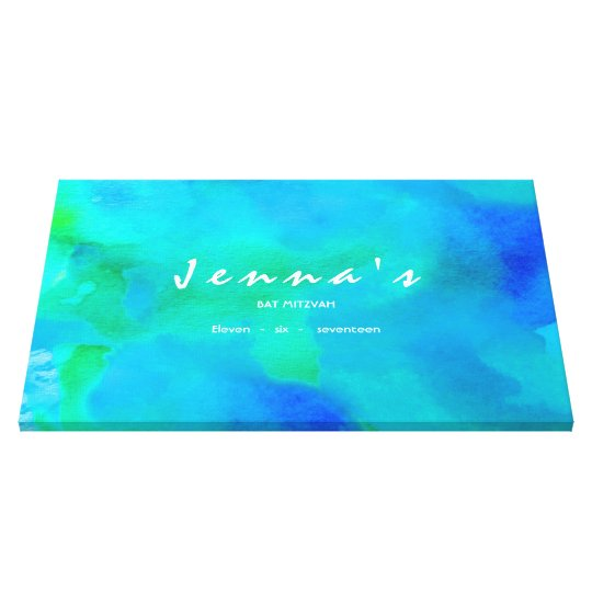 I'M AQUA WATERCOLOR Bat Mitzvah Sign In Board