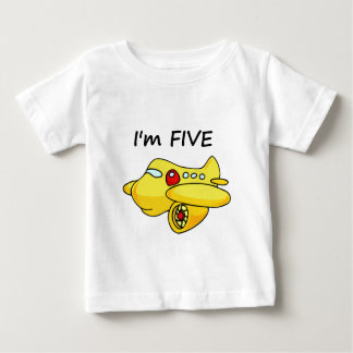 I'm Five, Yellow Plane Baby T-Shirt