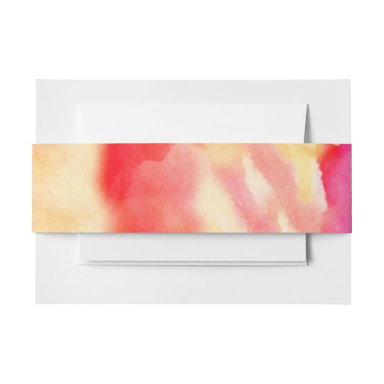 I'M RED WATERCOLOR Bat Mitzvah Belly Wrap Band Invitation Belly Band