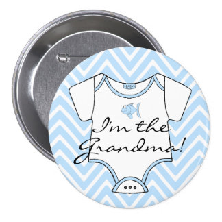 I'm The Grandma Blue Chevron With A Blue Fish 7.5 Cm Round Badge