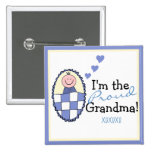I'm The Proud Grandma-Blue 15 Cm Square Badge