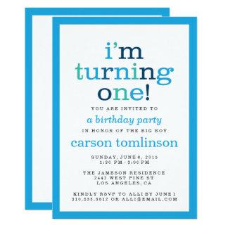 I'm Turning One! Blue Modern First Birthday Party 13 Cm X 18 Cm Invitation Card