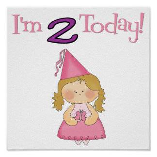 I'm TWO Today!  Princess Design Poster