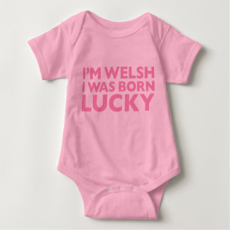 I'm Welsh I Was Born Lucky Pink Babygro Baby Bodysuit