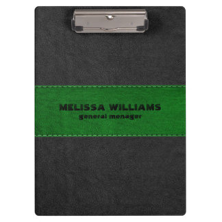 Image Of Black & Green Vintage Leather Stripes Clipboards