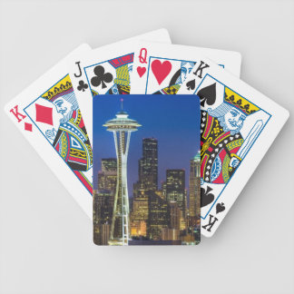 Image of Seattle Skyline in morning hours. Bicycle Playing Cards