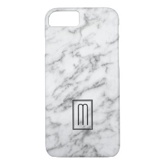 Image Of White & Grey Marble Texture Monogram iPhone 7 Case