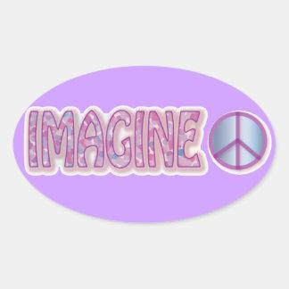 imagine peace oval sticker
