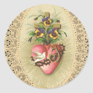 Immaculate Sorrowful  Heart of Virgin Mary Lace Do Classic Round Sticker