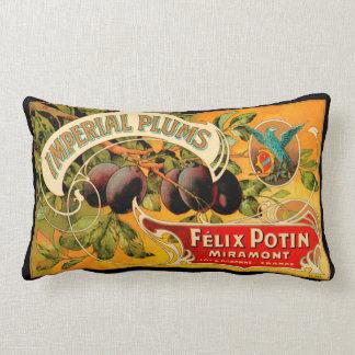 Imperial Plums Produce Crate Label - Lumbar Pillow