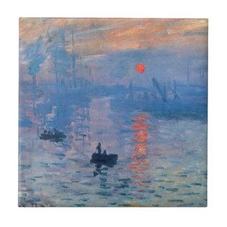 Impression, sunrise by Claude Monet Tile