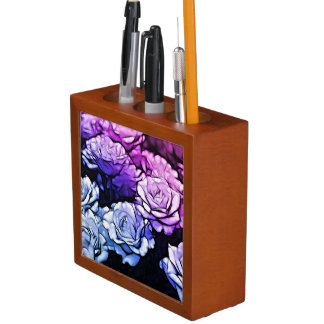 impressionism Shabby Chic Blue Purple Rose Desk Organiser
