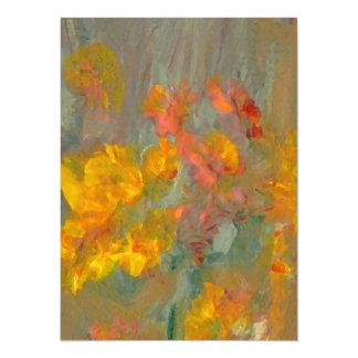 Impressionist Flowers Golds and Oranges 14 Cm X 19 Cm Invitation Card