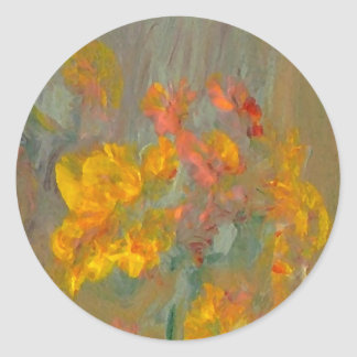 Impressionist Flowers Golds and Oranges Classic Round Sticker