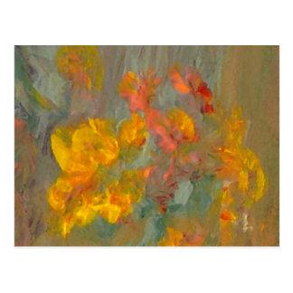 Impressionist Flowers Golds and Oranges Postcard