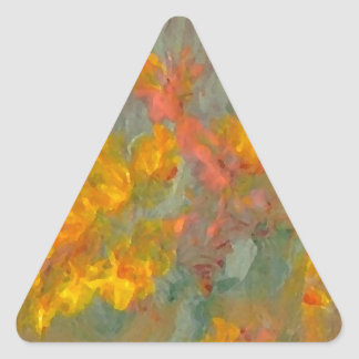 Impressionist Flowers Golds and Oranges Triangle Sticker