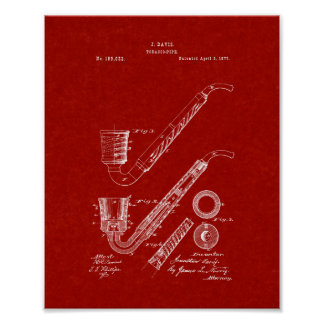Improvement In Tobacco-pipes Patent - Burgundy Red Print