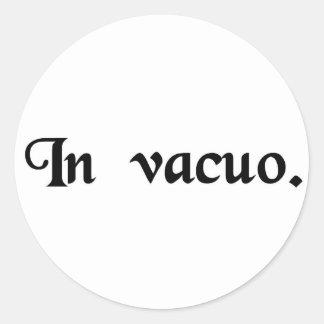 In a vacuum. classic round sticker