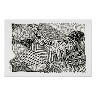 in Black and White -Abstract Manatee Poster