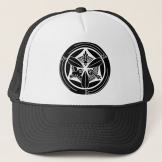 In circle of bamboo three feather sparrow trucker hat