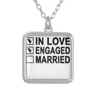 in love, engaged, married Women's T-Shirts.png Square Pendant Necklace