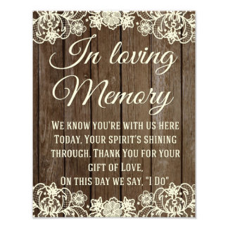 In Loving Memory Sign, Wedding Sign, Wedding Decor Photo Art