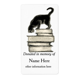In Memory of Cat on Stack of Books of Bookplate .. Shipping Label