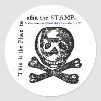 In opposition to the Stamp Act of 1765. Classic Round Sticker