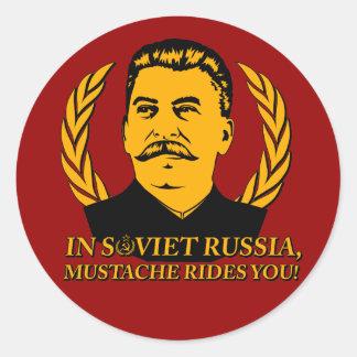 In Soviet Russia, Mustache Rides You! Round Sticker