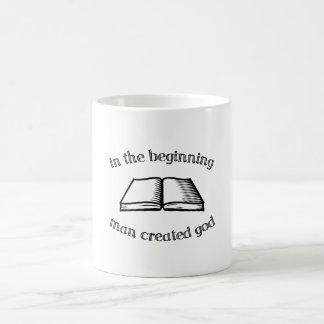 In the Beginning Man Created God Basic White Mug