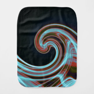 In the black blue wave abstract burp cloth
