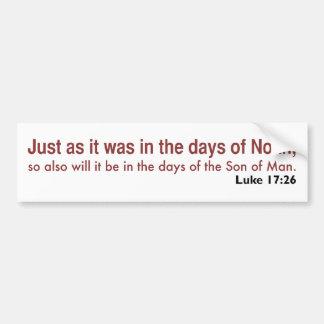 In the Days of Noah (white, version 1) Bumper Sticker