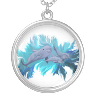 In the dolphin - school silver plated necklace