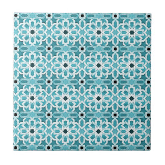 Incandescent Blue Moroccan Pattern Small Square Tile