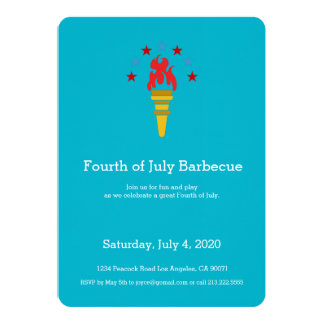 """Independence Day Party USA Torch Invitation 5"""" X 7"""" Invitation Card"""