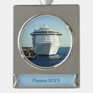 Independence in Cozumel Dated Silver Plated Banner Ornament
