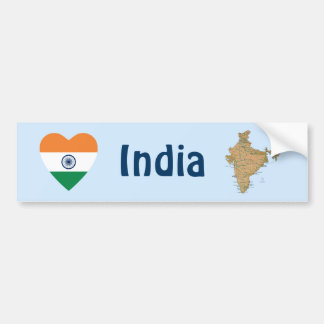 India Flag Heart + Map Bumper Sticker