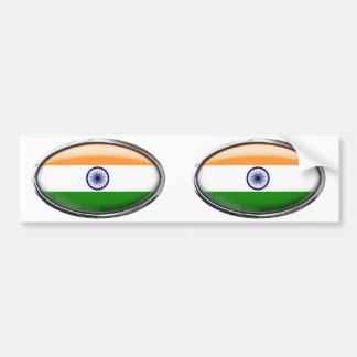 India Flag in Glass Oval Bumper Sticker
