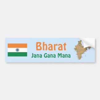India Flag + Map Bumper Sticker